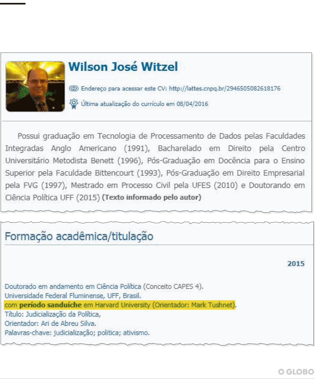 7ebc42c50 Witzel colocou no currículo doutorado em Harvard, mas nunca estudou ...