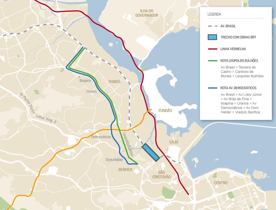 avenida do brasil mapa O Globo   As mudanças na Avenida Brasil para obras do BRT Transbrasil avenida do brasil mapa